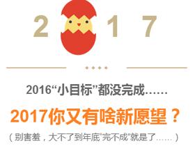 """2016""""小目标""""都没完成?2017你有啥新愿望?"""