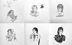 高三女生手繪肖像 做明信片贈予同學